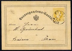 Austria 1873 correspondence card bearing 2kr yellow tied by fine Pilsen date stamp