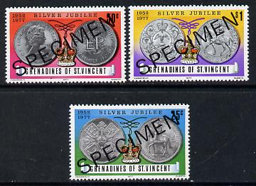 St Vincent - Grenadines 1977 Silver Jubilee (Commemorative Coins) set of 3 opt'd Specimen unmounted mint, as SG 93-95