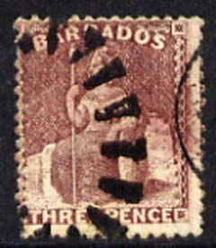 Barbados 1873 Britannia 3d wmk small star  good used with part cork & part cds cancels cat \A3110, SG63