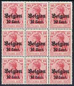Belgium - German Occupation 1916 Germania 10c on 10pf fine mounted mint block of 9 incl stamp 28 with