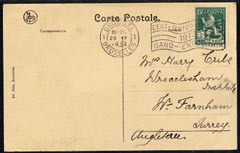 Belgium 1913 PPC of International Exhibition used to Surrey with special Exhibition cancel, very clean