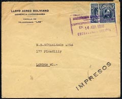 Bolivia 1938 cover to London bearing 10c plus 10c bisect with rectangular violet cancel, Argentine b/stamp