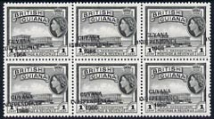 Guyana 1967-68 Independence opt on 1c (Script CA) unmounted mint block of 6 with opt misplaced (just touching perfs at left) SG 420var