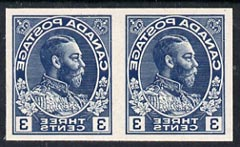 Canada 1928 KG5 3c Admiral design slightly enlarged and reversed in blue horiz pair on thin card, imperf Printing trial essay for the Victory-Kidder machine, some creasin...