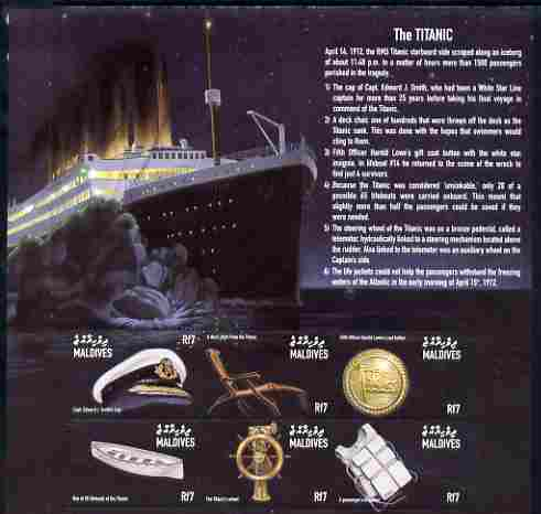 Maldive Islands 1998 RMS Titanic Commemoration perf sheetlet containing set of 6 values unmounted mint SG 5282-87