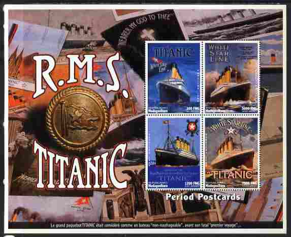 Madagascar 1997 RMS Titanic Commemoration perf sheetlet containing 4 values unmounted mint. Note this item is privately produced and is offered purely on its thematic appeal