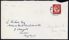 Christmas Island 1960? Great Britain 2.5d Wilding on commercial cover to UK with BFPO Christmas Is cds