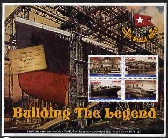 Madagascar 1998 RMS Titanic - Building the Legend perf sheetlet containing 4 values unmounted mint. Note this item is privately produced and is offered purely on its thematic appeal
