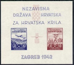 Croatia 1942 Aviation Fund imperf m/sheet unmounted mint, SG MS 58a