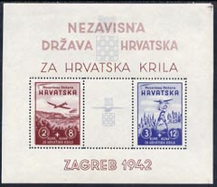 Croatia 1942 Aviation Fund perf m/sheet fine mounted mint but disturbed at right, SG MS 58b