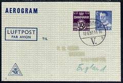 Aerogramme - Denmark 1951 50ore (10 + 40) printed Aerogramme (type 3)  with clear 12.6.51 cancel