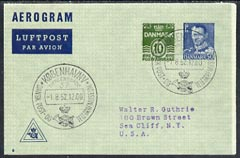 Aerogramme - Denmark 1952 60ore (10 + 50) printed Aerogramme (type 8) with commem cancel