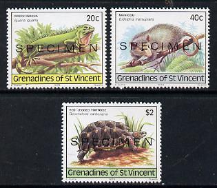 St Vincent - Grenadines 1979 Wildlife set of 3 (Iguana, Opossum & Tortoise) opt'd Specimen unmounted mint, as SG 149-51