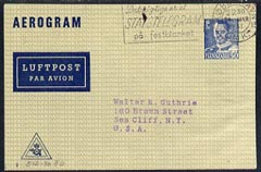 Aerogramme - Denmark 1951 50ore printed Aerogramme (type 5) to USA with slogan cancel