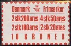 Booklet - Denmark 1982 Numerals & Margrethe 10kr booklet complete & fine SG SB 100