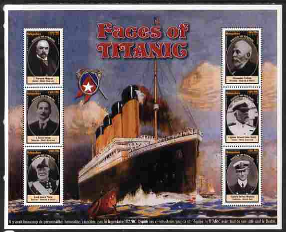 Madagascar 1998 RMS Titanic - Faces of Titanic perf sheetlet containing 6 values unmounted mint. Note this item is privately produced and is offered purely on its thematic appeal