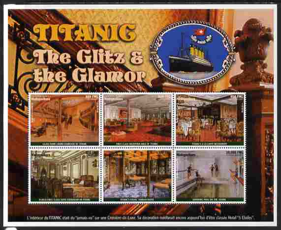 Madagascar 1998 RMS Titanic - The Glitz & Glamour perf sheetlet containing 6 values unmounted mint. Note this item is privately produced and is offered purely on its thematic appeal