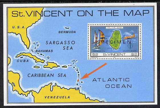 St Vincent 1980 'On the Map' m/sheet opt'd Specimen unmounted mint, as SG MS 655