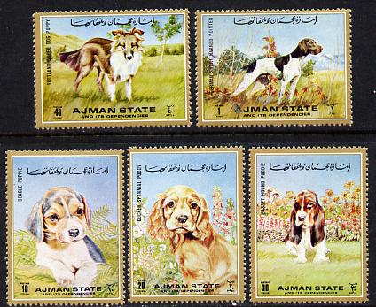 Ajman 1972 Dogs perf set of 5 unmounted mint (Mi 1538-41)