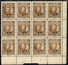 El Salvador 1895 General Ezeta 3c brown UNISSUED without overprint, fine mounted mint block of  12, SG 97var