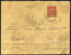 Martinique 1908 cover (stained) to Bordeaux bearing 10c red & blue tied
