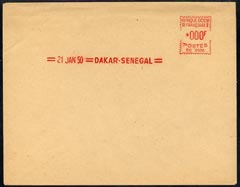Senegal 1950 proof of meter franking on large piece valued at *000F
