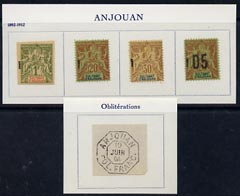 Comoro Islands - Anjouan 1892-1912 4 Peace & Commerce forgeries & 1 cancellation by Francois Fournier on pieces from special album
