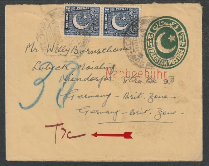 Germany - Allied Occupation 1949 underpaid p/stat env from Pakistan endorsed Nasbgeb\9Fhr in red with T7c in m/s