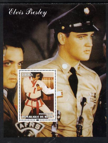 Benin 2003 Elvis Presley (in GI Uniform & Martial Arts) perf m/sheet unmounted mint. Note this item is privately produced and is offered purely on its thematic appeal