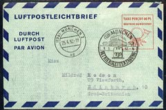 Aerogramme - Germany - West 1952 Air letter to UK with Munich cancel