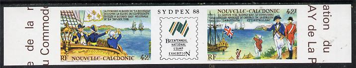 New Caledonia 1988 'Sydpex 88' Stamp Exhibition imperf se-tenant strip (La P\8Erouse & Phillip) from limited printing unmounted mint, as SG 834a