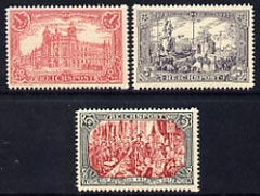 Germany 1899 Reichpost 1m, 3m & 5m unmounted mint reprints stamped 'Nachdruck' on reverse, originals cat \A3545 SG62, 64 & 65