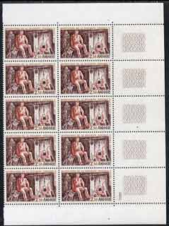 Andorra - French 1967 Institution of Social Security unmounted mint block of 10, SG F203 cat \A367.50