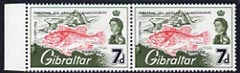 Gibraltar 1966 European Sea Angling Championships 7d unmounted mint marginal pair, one stamp showing \D4broken n in European\D5 variety (row 8/2)