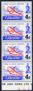 Gibraltar 1966 European Sea Angling Championships 4d unmounted mint positional strip of 4, one stamp showing \D4broken d\D5 variety  (Row 9/3)