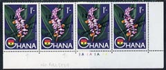 Ghana 1965 New Currency 12p on 1s unmounted mint strip of 4, 2 stamps with variety no comma after July