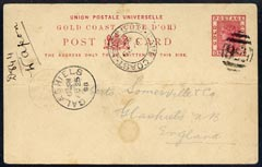 Gold Coast 1898 QV 1d p/stat card to UK with 556 cancel & Cape Coast date stamp alongside, horiz fold