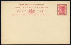 Gold Coast 1891 1d carmine postal stationery postcard unused and fine