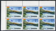 Ghana 1965 New Currency 2p on 2d Volta River unmounted mint block of 6, one stamp with variety Broken c in Currency R2/3