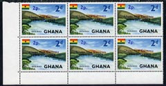 Ghana 1965 New Currency 2p on 2d Volta River unmounted mint block of 6, one stamp with variety \D4short 1 in date\D5 R5/2 and one stamp with no stop after date R5/3