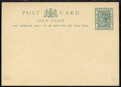 Gold Coast 1891 1/2d green postal stationery postcard unused and fine
