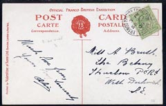 Great Britain 1908 KE7 PPC (Franco-British Exhibition) used bearing KE7 1/2d with fine exhibition cancel (Narrow D in London)