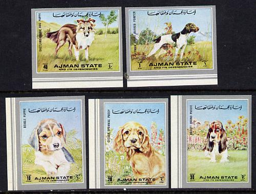 Ajman 1972 Dogs imperf set of 5 unmounted mint (Mi 1538-41B)