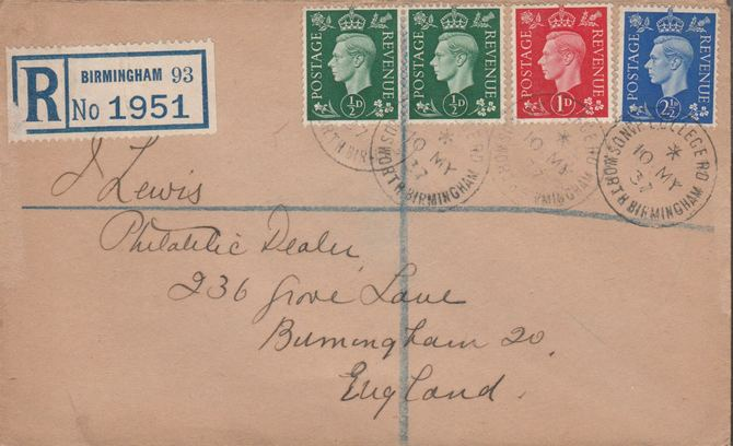 Great Britain 1937 KG6 1/2d (2), 1d & 2.5d on reg envelope with first day cancels. Note I have a small quantity of these covers so the one you receive may not be identica...