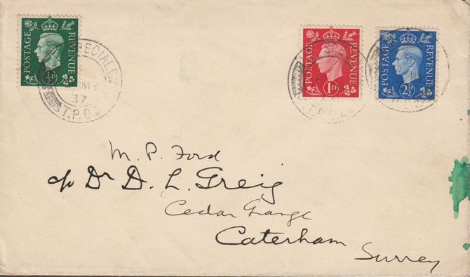 Great Britain 1937 KG6 1/2d, 1d & 2.5d on cover with clear TPO cancel of 9th May - one day before issue!