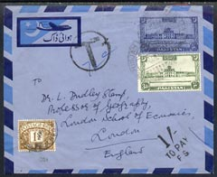 Great Britain 1952 KG6 p/stat Airmail env from Pakistan with Circle T & 1s To Pay FS tax marks  plus Great Britain 1s Postage Due (SG 39) attractive item