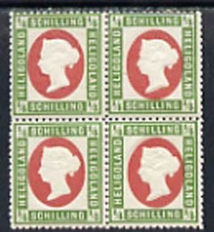Heligoland 1869 1/4sch error of colour in mounted mint block of 4, Head die I P13.5 x 14.5, top right stamp with variety