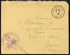 Hungary 1914 Red Cross cover Issoudun to Geneva