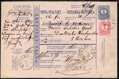 Hungary 1877 5k Blue Postal Declaration card from Moslavina to Pecs bearing additional 5k carmine-rose (tied cds)