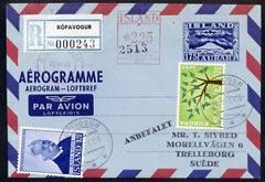 Aerogramme - Iceland 1960\D5s 175aur aerogramme registered used